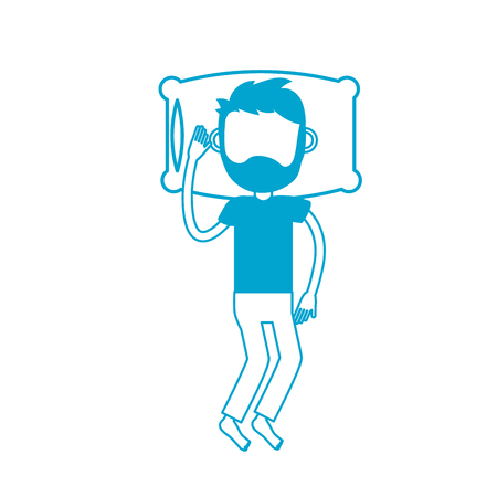 silhouette man with hairstyle sleeping