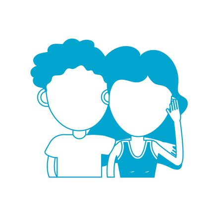 silhouette couple lover together with hairstyle design