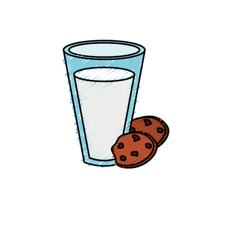 milker: delicious milk with chocolate cookies Illustration
