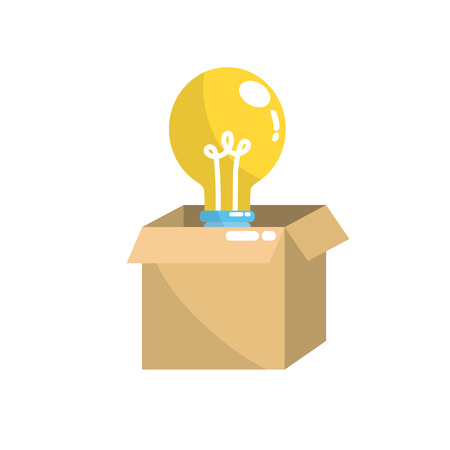 open box with electric bulb light Illustration