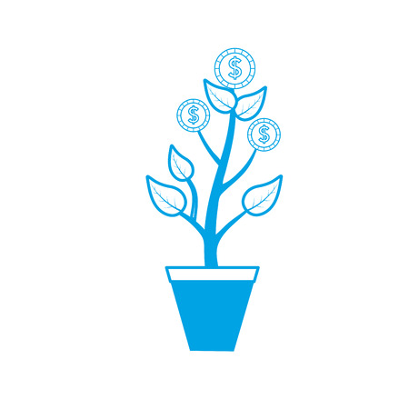 silhouette coins plant and cash money currency Illustration