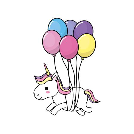 beauty unicorn with balloons decoration design