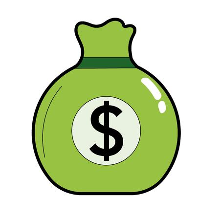 business bag with cash money inside Illustration