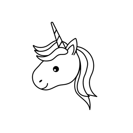 line cute unicorn head with horn and hairstyle Illustration