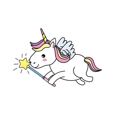 beauty unicorn with wings and magic wand Illustration