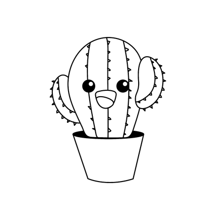 line kawaii cute tender cactus plant 向量圖像