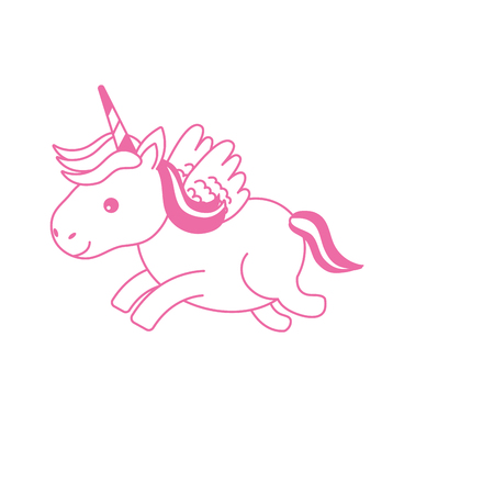 silhouette cute unicorn with horn and wings design Stock Photo