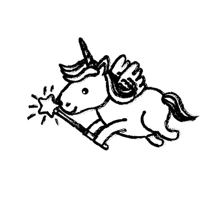 Figure beauty unicorn with wings and magic wand vector illustration