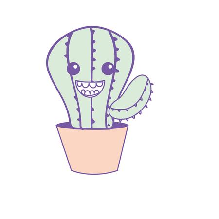 Kawaii lindo cactus feliz planta Vectores