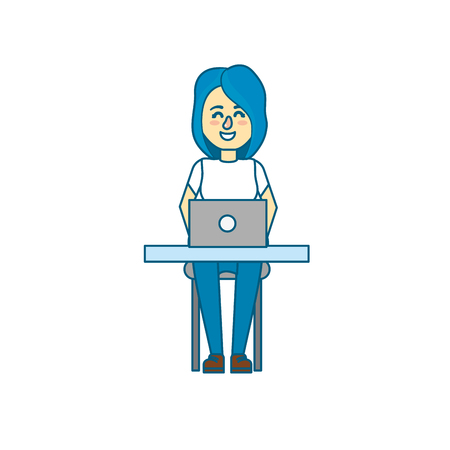 profesional: profesional businesswoman with laptop and corporate job