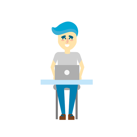 profesional: profesional businessman with laptop and corporate job Illustration
