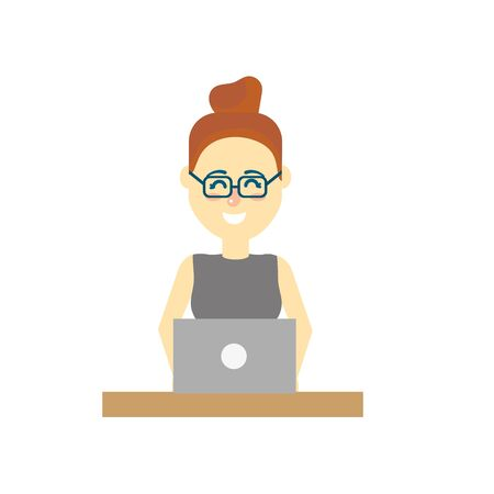 woman laptop: profesional businesswoman with laptop and corporate job