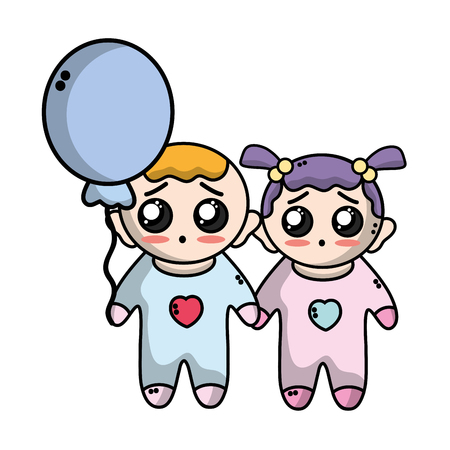 tender babies children with clothes and balloon