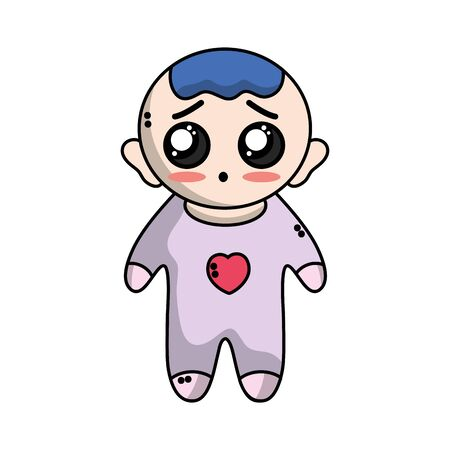 cute baby boy with hairstyle and clothes Illustration