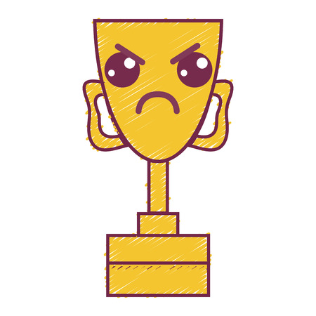 kawaii cute angry prize cup Illustration