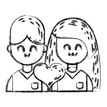 figure couple with beauty relation ships and heart Ilustrace