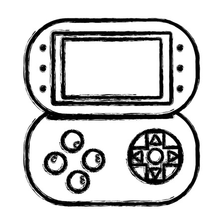 gamepad: figure videogame console toplay and enjoy Illustration