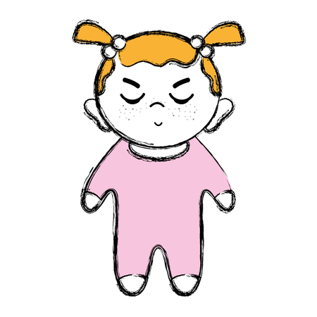 Cartoon illustration of a cute toddler baby girl with hairstyle and pajama over-all clothes, with facial expression.