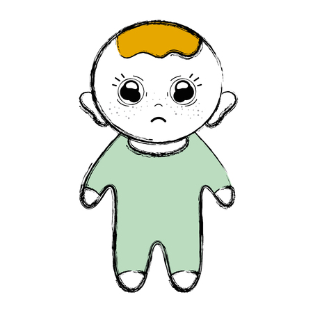Cartoon illustration of a cute baby boy with hairstyle and over-all pajamas clothes in a sad face.