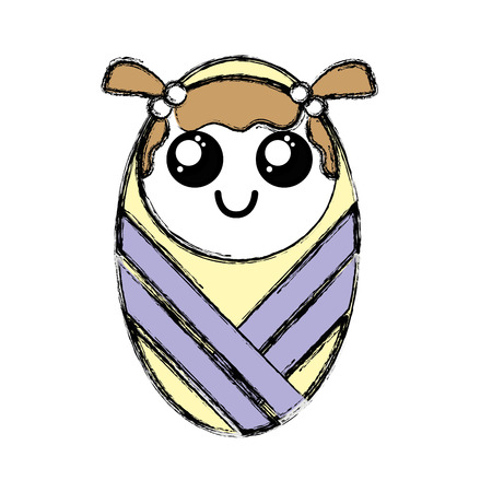 Cartoon illustration of a cute baby girl with hairstyle wrapped in the blanket, smiling eyes wide open. Illustration