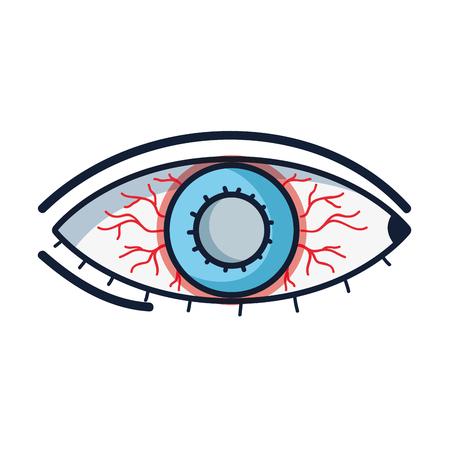 Beïnvloed oog met conjunctivitis ziekte en infectie, netvlies met rode aderen
