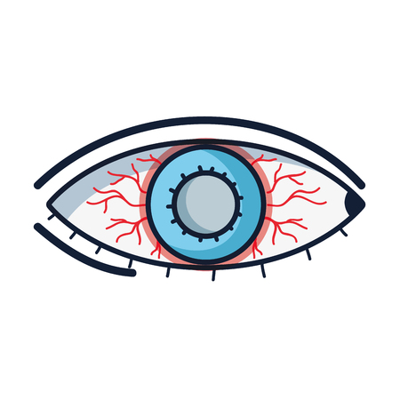 Affected eye with conjunctivitis sickness and infection, retina with red veins Illustration