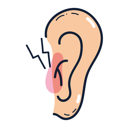 affected ear with otitis sickness infection and red inflammation Illustration