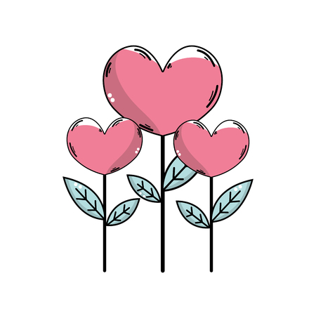 Hand-drawn beauty heart plants with leaves design, isolated in white