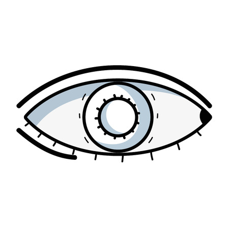 Line sketch illustration of healthy human eye vision and optical care concept Illustration