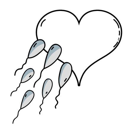 Línea ilustración boceto de reproducción de espermatozoides óvulo fertilizante en forma de corazón