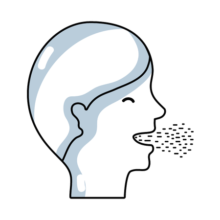 Outline sketch illustration of a man with coughs, cold and sore throat sickness