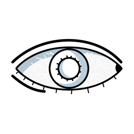 Outline illustration of an eye with conjunctivitis sickness and infectious disease. Illustration