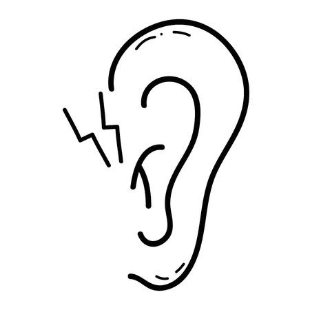Lijn oor met otitis ziekte-infectie en ontsteking Stockfoto - 83667309