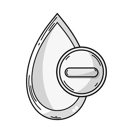 Outline illustration of blood drop with negative or minus sign for medical donation symbol