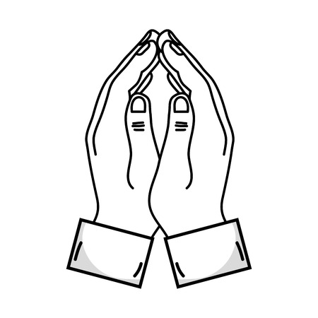 pinky: Outline sketch illustration of human hands closed facing together with fingers connected