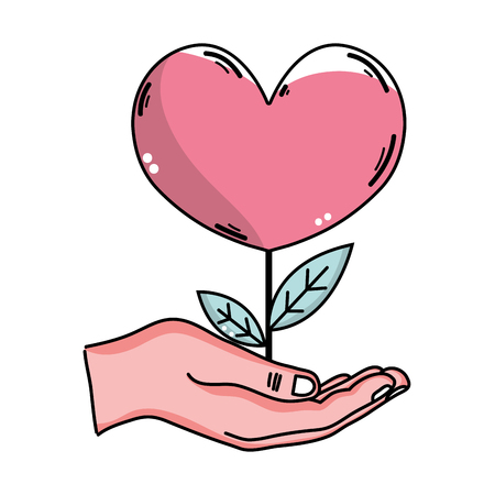A vector hand drawn illustration of a hand with heart shape flower plant on the palm, caring for nature concept.