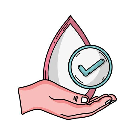 A vector illustration of hand with blood drop icon for medical donation concept Illustration