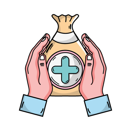 Drawing of hands holding a bag with positive or cross sign in a circle, symbol for  medical donation Illustration