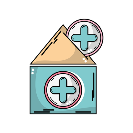 Illustration of house blood donation with cross symbol