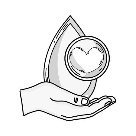 line hand blood drop to medical donation symbol Illustration