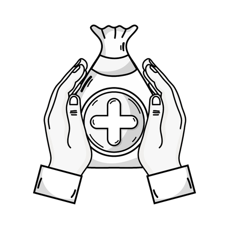 Outline drawing of hands holding a bag donation with heart and cross symbol Illustration