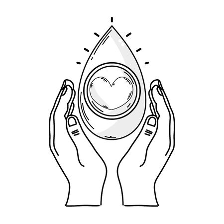 Outline drawing of hands with blood drop for medical donation symbol