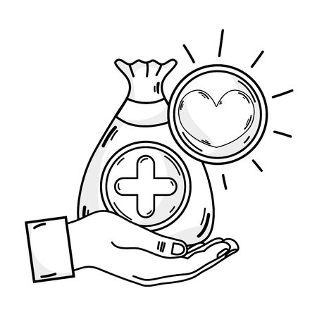 Outline drawing of hand with bag donation with heart and cross symbol
