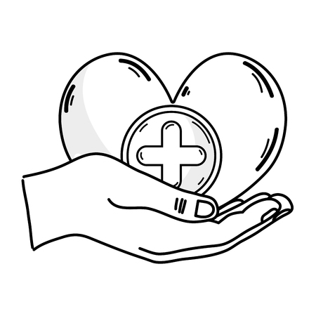 entwined: Outline drawing of hands holding a heart shape medicine with cross symbol to help the people
