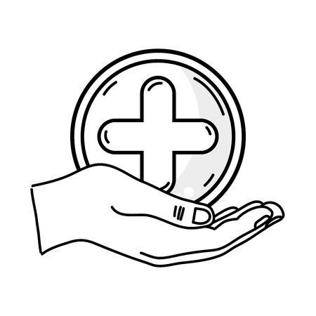 aesculapius: Outline drawing of hand holding a cross medicine symbol to help the people Illustration