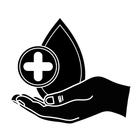 Black contour hand with blood drop and a circle with a cross symbol for medical donation symbol