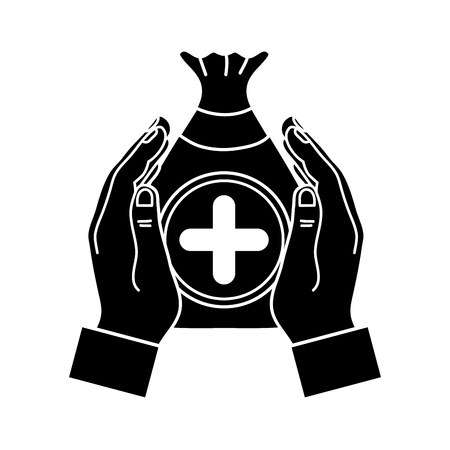 Black contour hands with a bag donation and cross symbol Illustration