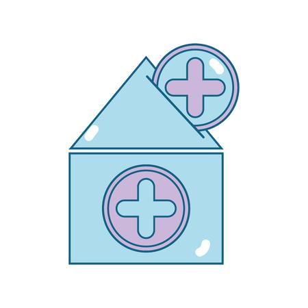 十字の記号と献血の青い家イラスト  イラスト・ベクター素材
