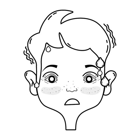 Outline drawing of avatar  man with headache sickness due to stress problem