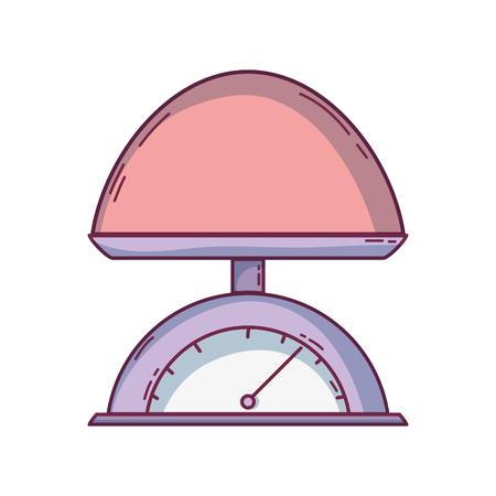 Cartoon illustration of  babies weighing scale machine balance tool